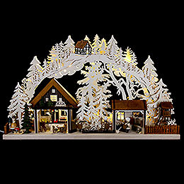 3D Candle Arch - Christmas Bakery with Walki Figures - 72x43 cm / 28x17 inch
