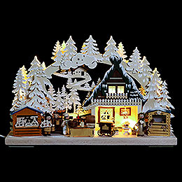 3D Double Arch - Christmas Market with White Frost - 40x30x7 cm / 16x12x3 inch