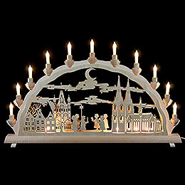 3D Double Arch - Cologne Cathedral with Carolers - 68x35 cm / 27.8x13.8 inch