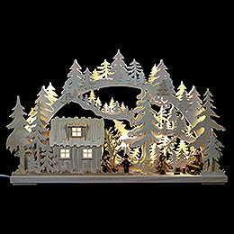 3D Double Arch - Forest Hut with Forest Workers - 62x38x8 cm / 24x15x3 inch