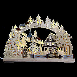 3D Double Arch - Seiffen in Winter - 44x29x7 cm / 17x11x3 inch
