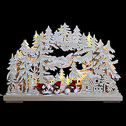 3D Double Arch - Snowball Fight with White Frost - 43x30x7 cm / 17x12x3 inch