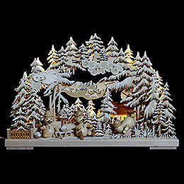 3D Double Arch - Snowman's Paradise with White Frost - 43x30x7 cm / 17x12x3 inch