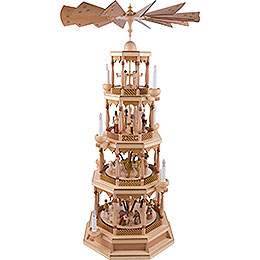 4-Tier Pyramid - Nativity with Musical Mechanism, Natural - 100 cm / 40 inch