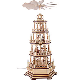 4-Tier Pyramid - The Christmas Story - 70 cm / 28 inch - 230 V Electr. Motor