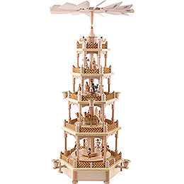 5-Tier Pyramid - Nativity Scene Natural Wood - 70 cm / 28 inch