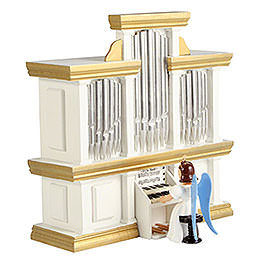 Angel Long Pleated Skirt at the Organ with Music Box, Colored - 15,5 cm / 6.1 inch
