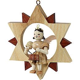 Angel Sitting in a Star with Drum, Natural - 9 cm / 3.5 inch