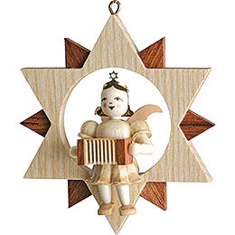 Angel Sitting in a Star with Harmonica, Natural - 9 cm / 3.5 inch
