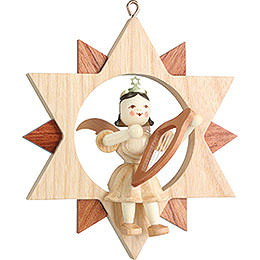 Angel Sitting in a Star with Lyre, Natural - 9 cm / 3.5 inch