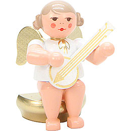 Angel White/Gold Sitting with Banjo - 5,5 cm / 2 inch