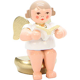 Angel White/Gold Sitting with Book - 5,5 cm / 2 inch