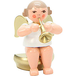 Angel White/Gold Sitting with Fanfare - 5,5 cm / 2 inch