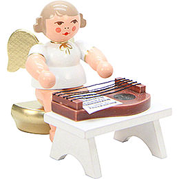 Angel White/Gold with Zither - 6,0 cm / 2 inch