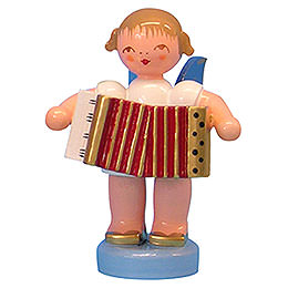 Angel with Accordion - Blue Wings - Standing - 6 cm / 2,3 inch