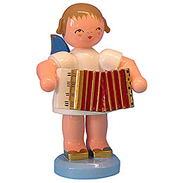Angel with Accordion - Blue Wings - Standing - 9,5 cm / 3,7 inch