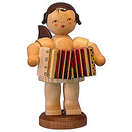 Angel with Accordion - Natural Colors - Standing - 9,5 cm / 3,7 inch