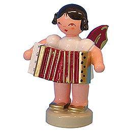 Angel with Accordion - Red Wings - Standing - 6 cm / 2,3 inch