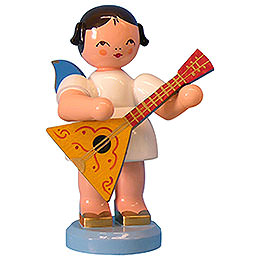 Angel with Balalaika - Blue Wings - Standing - 9,5 cm / 3,7 inch
