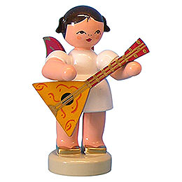 Angel with Balalaika - Red Wings - Standing - 6 cm / 2,3 inch