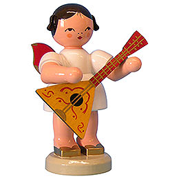 Angel with Balalaika - Red Wings - Standing - 9,5 cm / 3,7 inch
