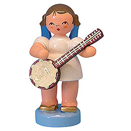 Angel with Banjo - Blue Wings - Standing - 6 cm / 2,3 inch