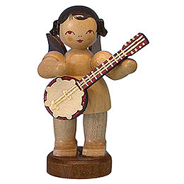Angel with Banjo - Natural Colors - Standing - 6 cm / 2,3 inch