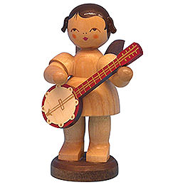Angel with Banjo - Natural Colors - Standing - 9,5 cm / 3,7 inch