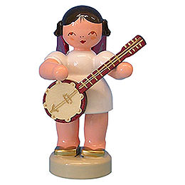 Angel with Banjo - Red Wings - Standing - 6 cm / 2,3 inch
