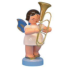 Angel with Baritone - Blue Wings - Standing - 6 cm / 2,3 inch