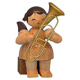 Angel with Baritone - Natural Colors - Sitting - 5 cm / 2 inch