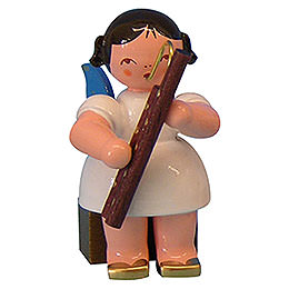 Angel with Bassoon - Blue Wings - Sitting - 5 cm / 2 inch