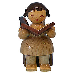 Angel with Book - Natural Colors - Sitting - 5 cm / 2 inch