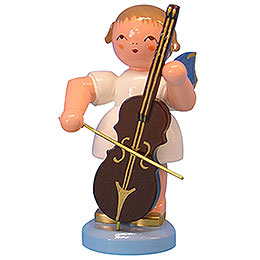 Angel with Cello - Blue Wings - Standing - 9,5 cm / 3,7 inch