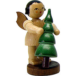 Angel with Christmas Tree - Natural- Standing - 6 cm / 2.3 inch