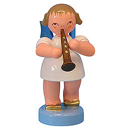 Angel with Clarinet - Blue Wings - Standing - 6 cm / 2,3 inch