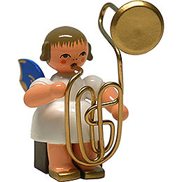 Angel with Contrabass Trombone - Blue Wings - Sitting - 8 cm / 3.1 inch
