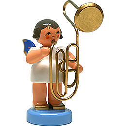 Angel with Contrabass Trombone - Blue Wings - Standing - 6 cm / 2.4 inch
