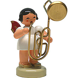 Angel with Contrabass Trombone - Red Wings - Standing - 6 cm / 2.4 inch