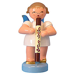 Angel with Didgeridoo - Blue Wings - Standing - 6 cm / 2,3 inch