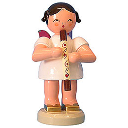 Angel with Didgeridoo - Red Wings - Standing - 9,5 cm / 3,7 inch