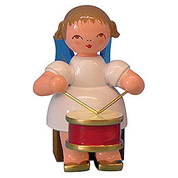 Angel with Drum - Blue Wings - Sitting - 5 cm / 2 inch