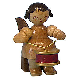 Angel with Drum - Natural Colors - Sitting - 5 cm / 2 inch