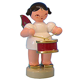 Angel with Drum - Red Wings - Standing - 6 cm / 2,3 inch