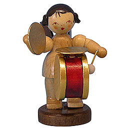 Angel with Drum and Cymbal - Natural Colors - Standing - 6 cm / 2,3 inch