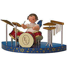 Angel with Drums Fitting Simple Clouds - Blue Wings - Standing - 6 cm / 2,3 inch