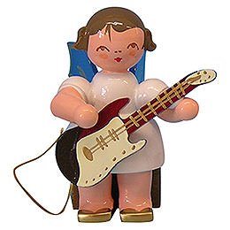 Angel with Electric Guitar - Blue Wings - Sitting - 5 cm / 2 inch