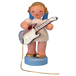 Angel with Electric Guitar - Blue Wings - Standing - 6 cm / 2,3 inch