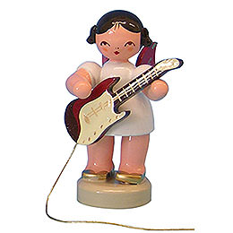 Angel with Electric Guitar - Red Wings - Standing - 6 cm / 2,3 inch