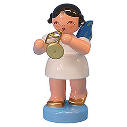 Angel with Flugelhorn - Blue Wings - Standing - 6 cm / 2,3 inch